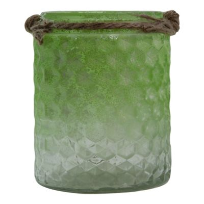 Half-Green Frosted Textured Glass & Jute Tealight Candle Holder or Vase