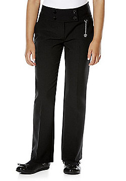 F&F School 2 Pack of Girls Fob Detail Bootcut Trousers - Black