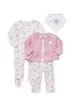 F&F 5 Piece Animal Print Baby Set - Pink