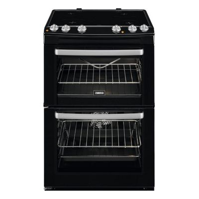 Zanussi-ZCV668MN Freestanding Ceramic Electric Cooker with Double Oven in Black