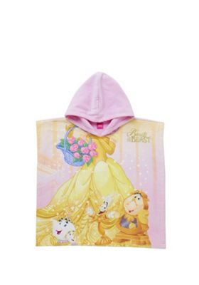 Disney Beauty and the Beast Hooded Towel Poncho Yellow Multi One Size