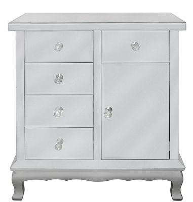 Mirror Cabinet With Silver Trim With NEW Crystal Handles