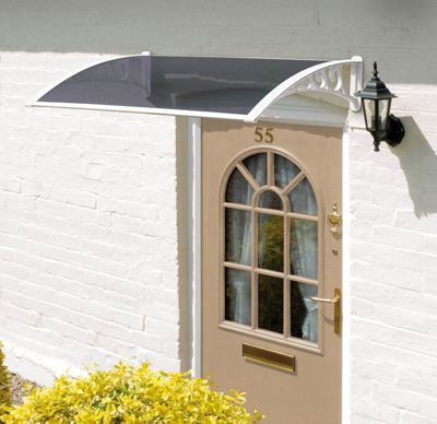 1.2m Tinted Door Canopy White Brackets