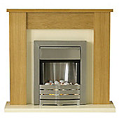 Adam Solus Fireplace Suite in Oak with Helios Electric Fire in Brushed Steel