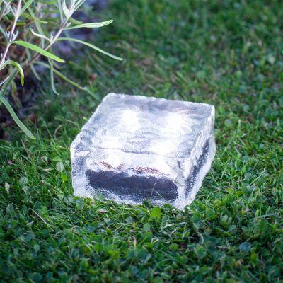Large White LED Solar Garden Glass Path Light