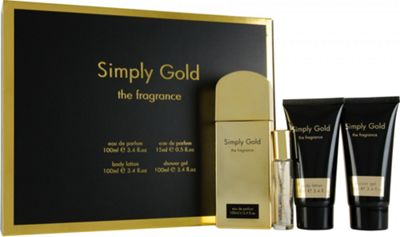 Simply Gold The Fragrance Gift Set 100ml EDP + 100ml Body Lotion + 100ml Shower Gel + 15ml Purse Spray For Women