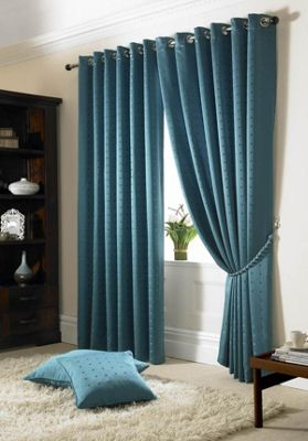 Alan Symonds Madison Teal Eyelet Curtains - 66x90 Inches (168x229cm)