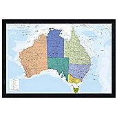 Map of Australia Black Wooden Framed The World's Smallest Continent Poster