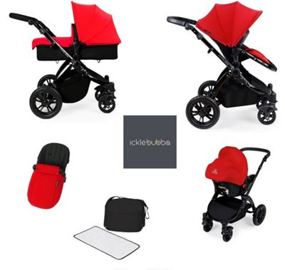 ickle Bubba V2 Stomp AIO Travel System with Safety Mosquito Net - Red (Black Chassis)