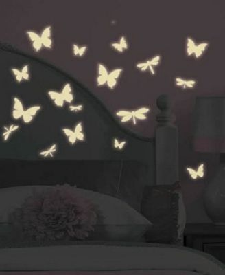 Childrens Wall Stickers - Butterfly and Dragonfly Glow in the Dark