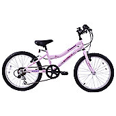 "Ammaco Diamond 20"" Wheel Kids MTB Bike 6 Speed Pink"