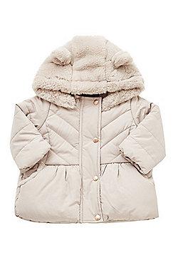 F&F Teddy Bear Hood Quilted Jacket - Mink