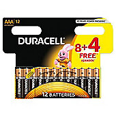 Duracell Basic AAA Batteries 8 + 4 Free