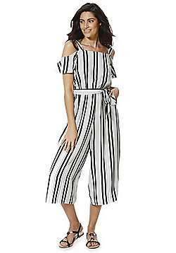 F&F Striped Cold Shoulder Culotte Jumpsuit - Black & White