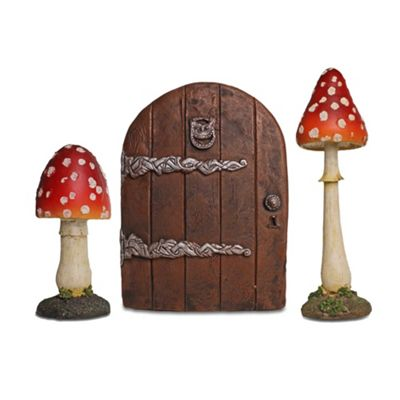 Fairy Garden Ornament Set with 2 Large Red Toadstool Mushrooms & Large Fairy Door