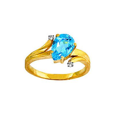QP Jewellers Diamond & Blue Topaz Flank Ring in 14K Gold - Size L