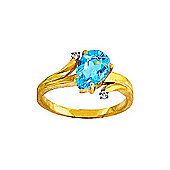 QP Jewellers Diamond & Blue Topaz Flank Ring in 14K Gold - Size I