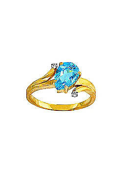 QP Jewellers Diamond & Blue Topaz Flank Ring in 14K Gold