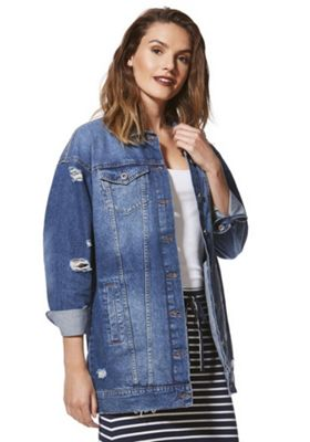 Only Oversized Denim Jacket Blue XS