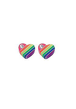 Striped Rainbow Heart Stud Earrings