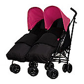 Obaby Apollo Black & Grey Twin Stroller with 2 Black Footmuffs - Pink