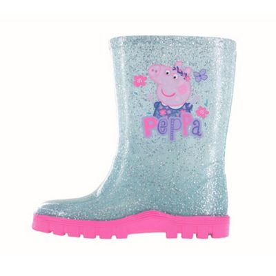 Girls Peppa Pig Glitter Blue Floral Wellington Boots UK Size 5