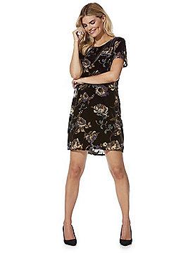 Vero Moda Floral Print Velour Dress - Black multi