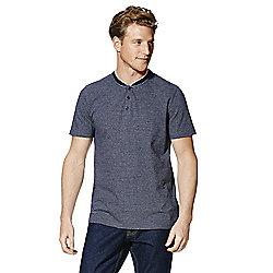 F&F Striped Baseball Collar Polo Shirt - Navy