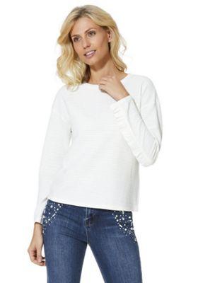 JDY Frill Trim Textured Stripe Sweatshirt Ivory S