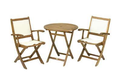 Royalcraft York Garden Bistro Set - 70cm Round Table with 2 Henley Lowback Folding Armchairs