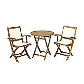 York Garden Bistro Set - 70cm Round Table with 2 Henley Lowback Folding Armchairs