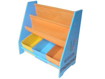 Kiddi Style Childrens Crayon Themed Wooden Sling Bookshelf & Storage - Blue
