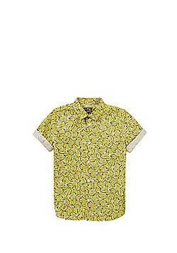 F&F Banana Print Short Sleeve Shirt - Yellow/White