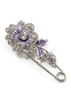 Silver Tone Crystal Rose Safety Pin Brooch (Purple)