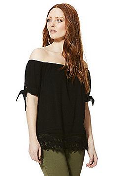 Vero Moda Short Sleeve Bardot Top - Black
