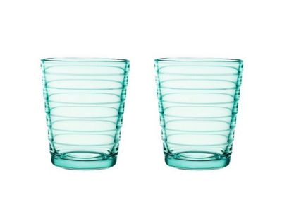 Iittala Aino Aalto Set of 2 Water Green Glass Tumblers, 22cl 5103000