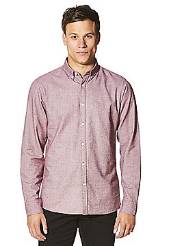 F&F Herringbone Cotton Long Sleeve Shirt - Red