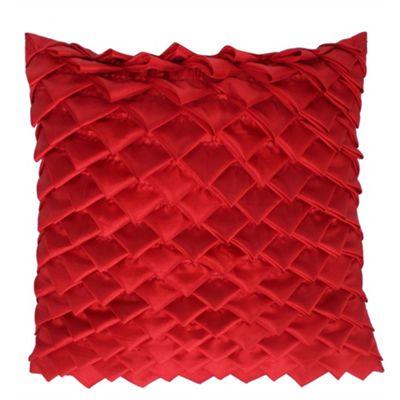 Satin Folds Cushion - Hot Chilli Red