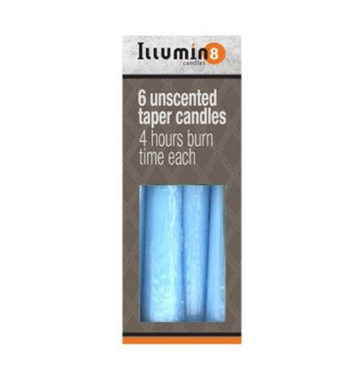 24 x Blue Illumin8 Unscented 5.5Inch Taper Candles 4 hours Burn Time