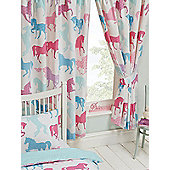 Patchwork Ponies Horses Lined Curtains - Blue