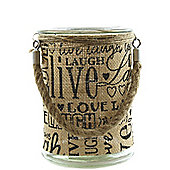 Glass Jar Hessian - 17cm