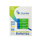 4 x Starmo AAA MN2400 900mAh HR03/1.2V Rechargeable Batteries