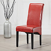2x Red Chester Leather High Back Scroll Dining Chair