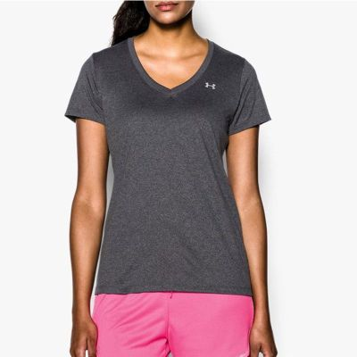 Under Armour Ladies Tech SS Tee - Solid - Carbon Heather, Metallic Silver Size - S