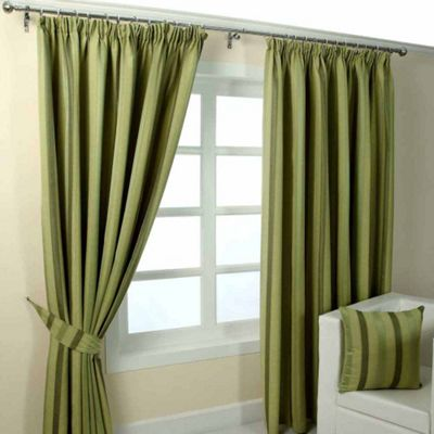 Homescapes Green Jacquard Curtain Modern Striped Design Fully Lined - 46