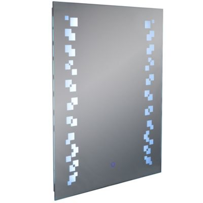 Grafik - Led Illuminated Rectangular Wall Mirror Light With Demister - Silver