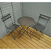 Steel Garden Bistro Set in Carbon Grey