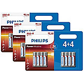 24 x Philips AAA Power Alkaline LR03 Long Lasting Batteries