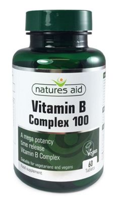 Natures Aid Vitamin B Complex 100 (Mega Potency) Time Release - 60 Tablets