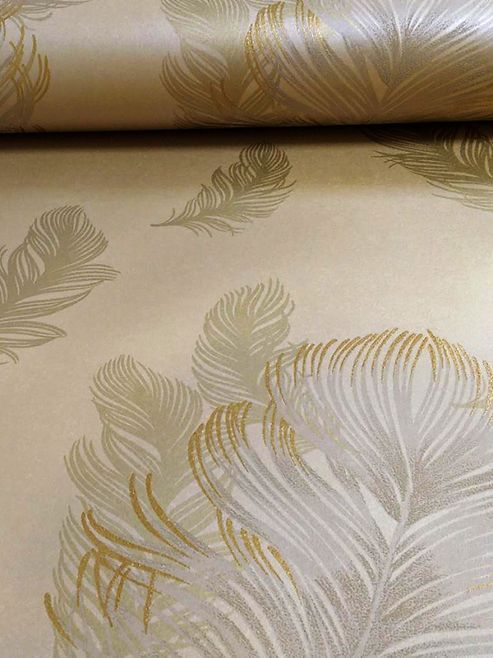 Precious Metals Sirius Feathers Wallpaper Gold Arthouse 673601